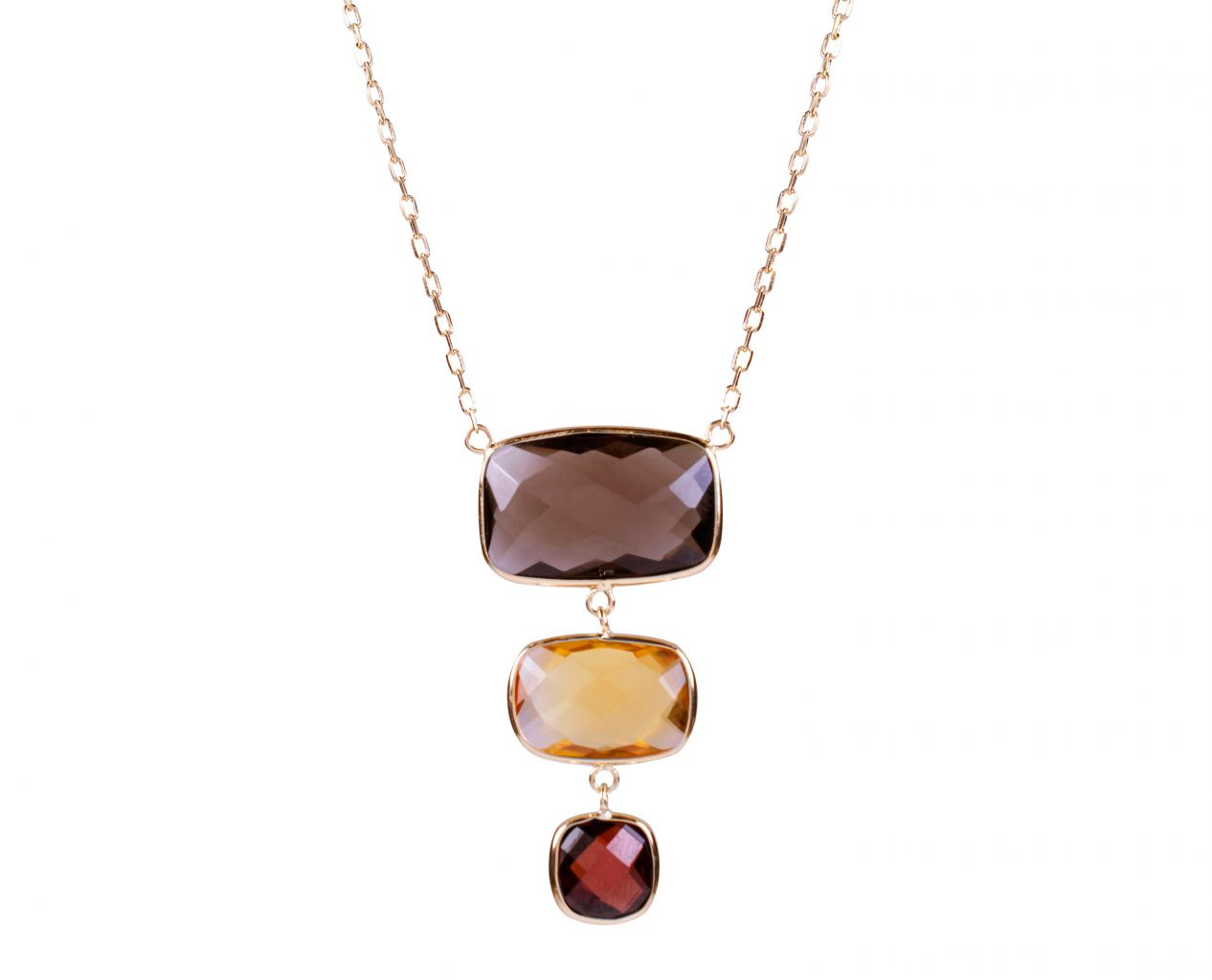 Andy Gotz South Beach tricolor tiered gemstone necklace