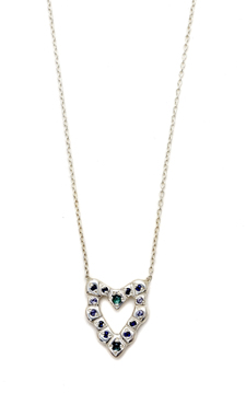 Cobblestone Heart necklace in silver with blue sapphires and tanzanite from Elisa Solomon