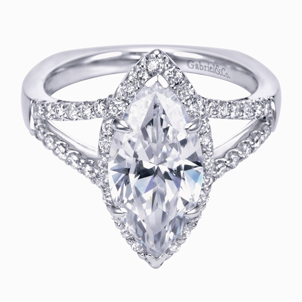Gabriel & Co. marquise-cut diamond engagement ring