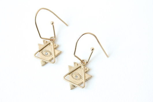 pirit Eye and Triangle earrings in 14k gold with 0.01 ct. t.w. diamonds by Masumi Hayashi
