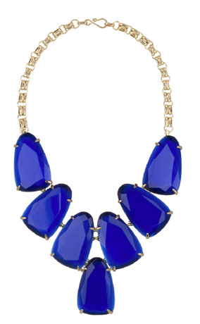 Kendra Scott necklace in 14k gold plated brass with blue stones