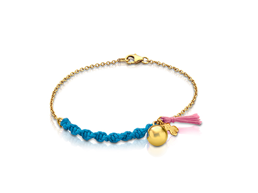 Bracelet in 18k gold vermeil with silk cord, $110; Tous