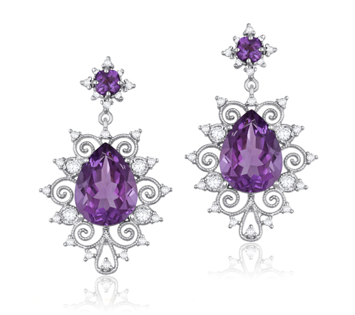 Earrings in 18k white gold with amethyst and diamonds by Jacqueline Fine Jewelry
