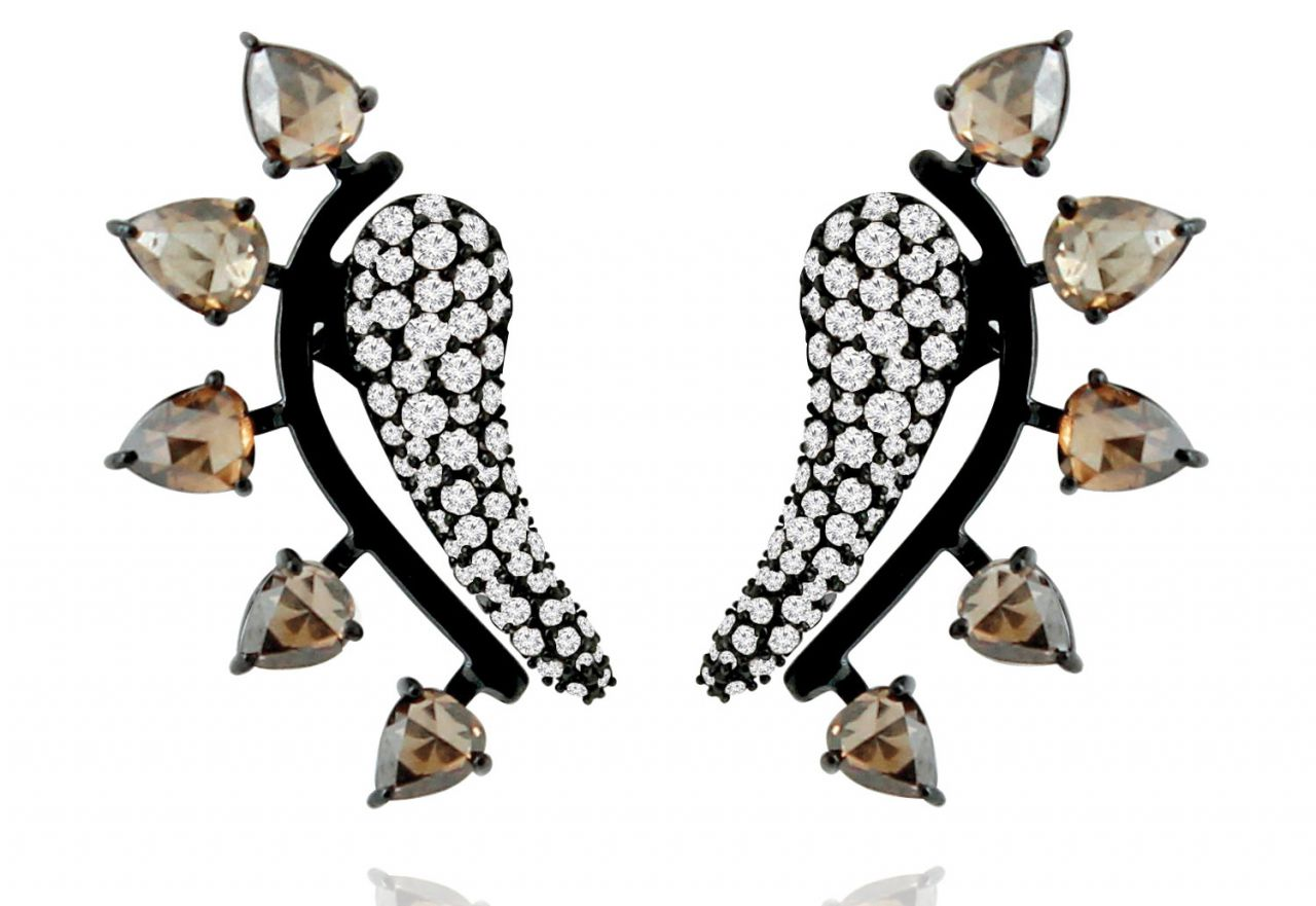 Sutra black rhodium diamond ear climbers