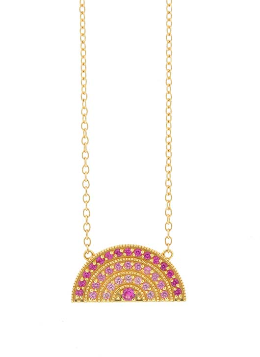 Andrea Fohrman gold rainbow necklace with pink sapphires