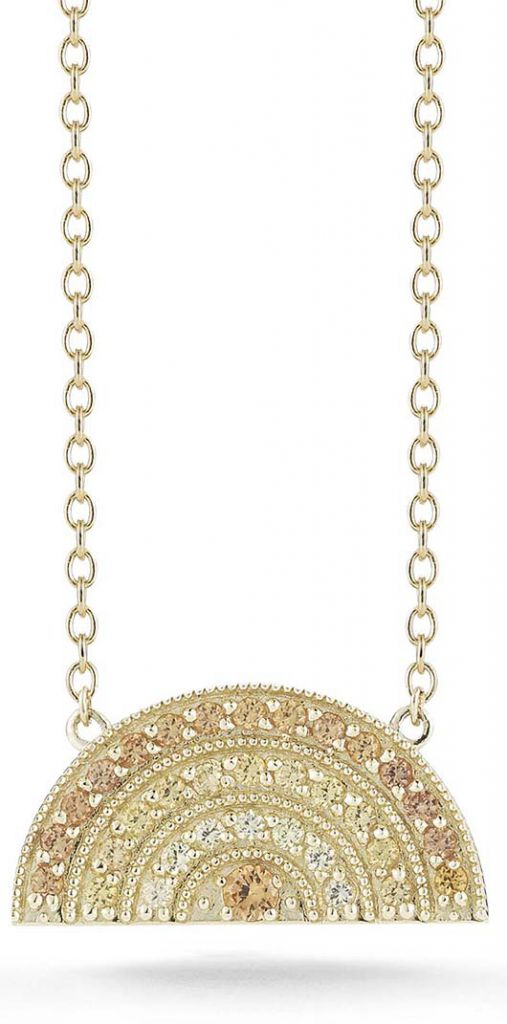 Andrea Fohrman gold rainbow necklace with yellow sapphires