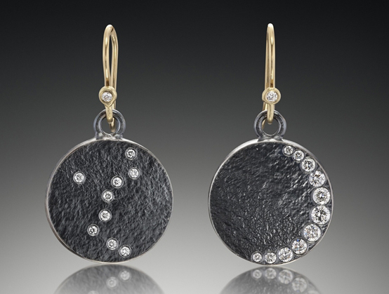 Genevieve Yang crescent moon and stars earrings