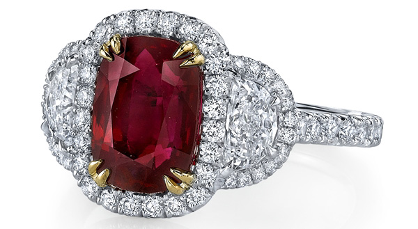 Omi Prive oblong cushion ruby and diamond ring