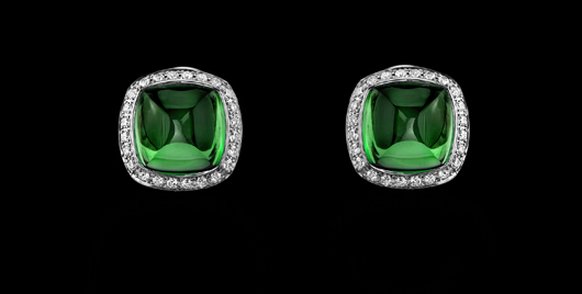 Green tourmaline earrings in gold with diamonds from the Legacy collection from Robert Procop and Brooke Shields
