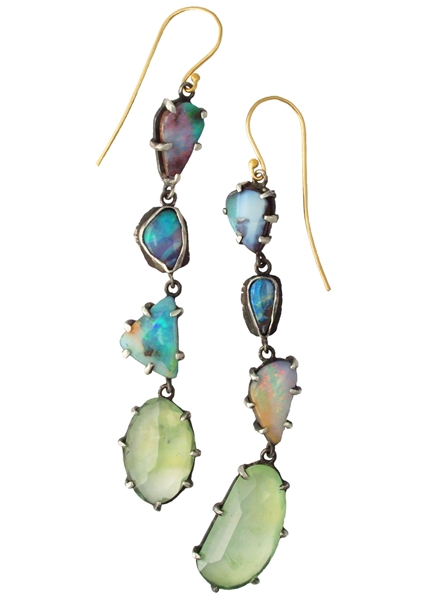 Margery Hirschey Boulder opal and phrenite drop earrings