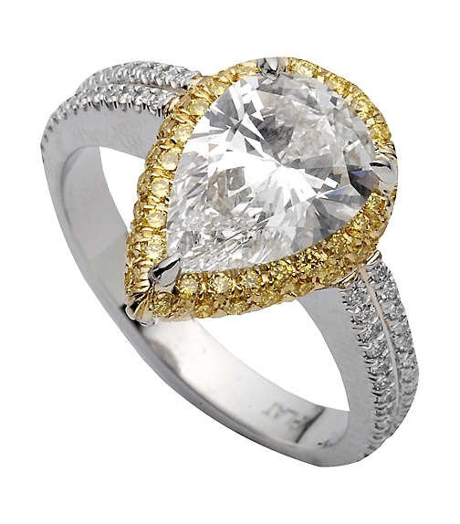 Superior Diamond Cutters pear-shape yellow halo engagement ring