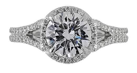 Superior Diamond Cutters round halo engagement ring