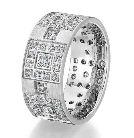 Atlantic Engraving geometric diamond wedding band