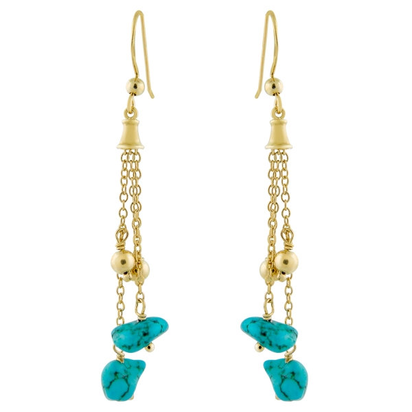 Charming Silver turquoise chain dangle earrings