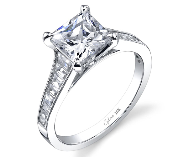 Sylvie Collection princess cut diamond engagement ring