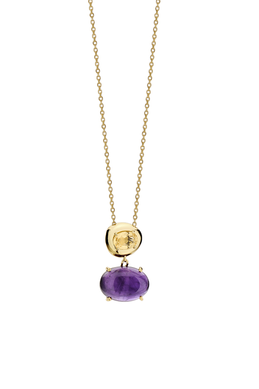 Pendant necklace in 18k gold with amethyst and citrine from the Corcovado collection by Brumani