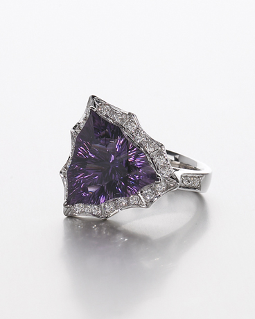 Ring with amethyst from the Four Peaks mine cut by Darryl Alexander made by Brenda Smith Jewelry