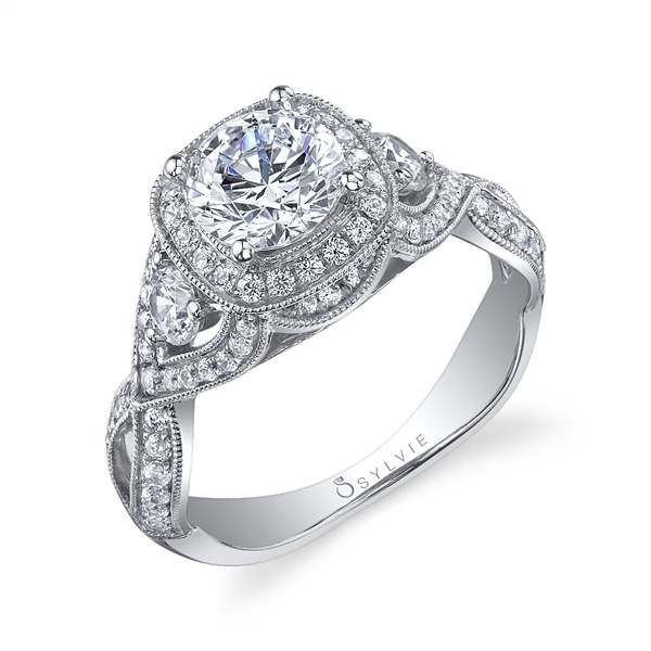 Sylvie Collection twisted pave shank halo engagement ring