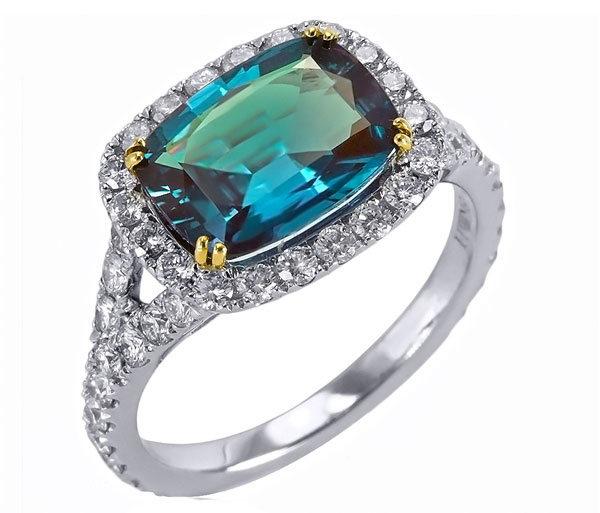 Mark Henry platinum alexandrite cushion ring