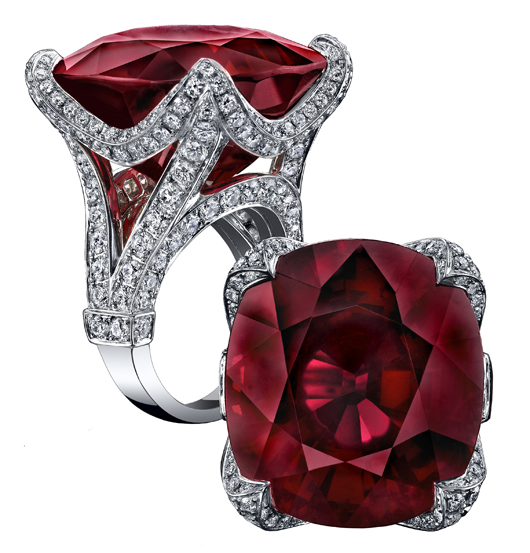 Robert Procop ring with rubellite and diamonds