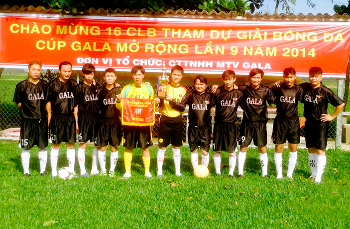 Galatea men's soccer team at the Galatea factory in Vietnam