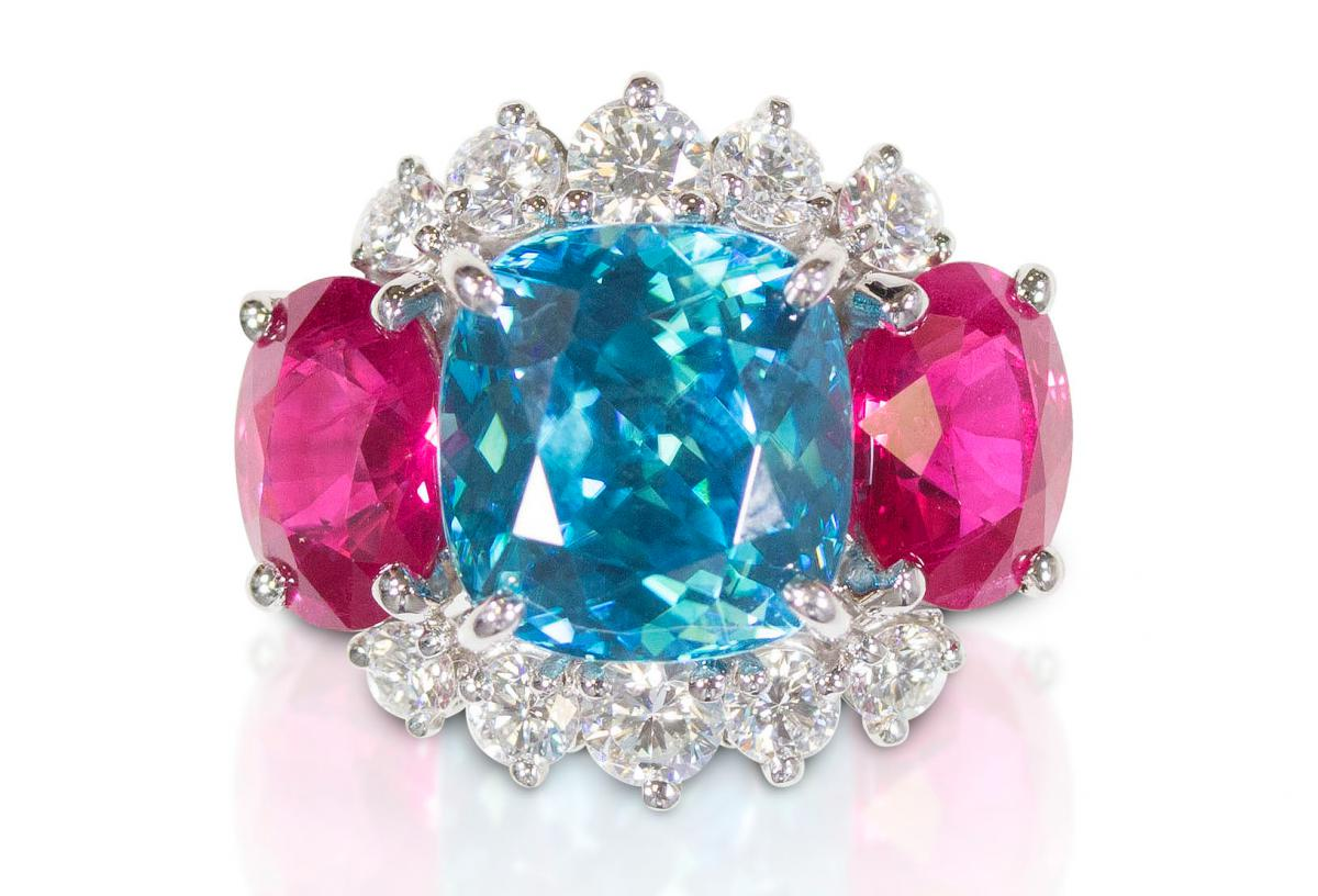 Oscar Heyman platinum zircon and ruby ring