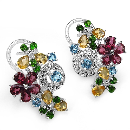 Quintessence Jewelry Corp multi gemstone flower earrings