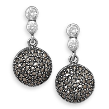Silver Stars Collection marcasite and CZ drop earrings