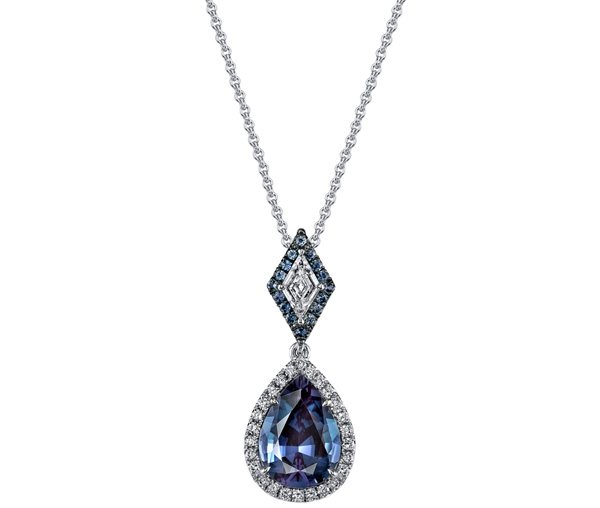 Omi Prive pear and kite alexandrite pendant