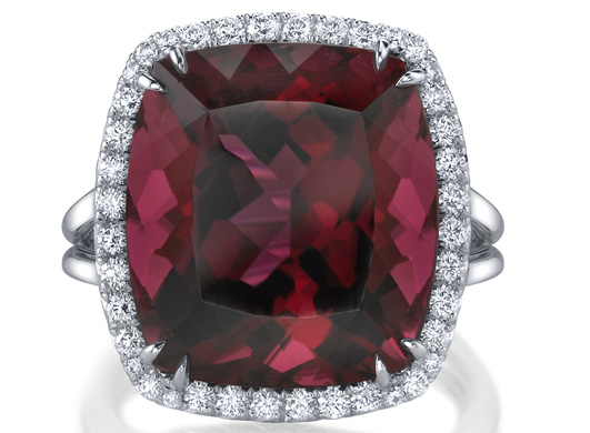 Omi Prive cushion cut rubellite and diamond ring
