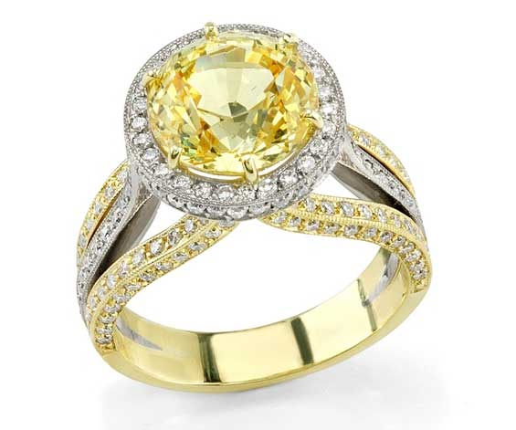 Omi Prive two-tone yellow sapphire ring
