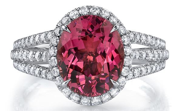 Omi Prive spinel and trillion diamond ring
