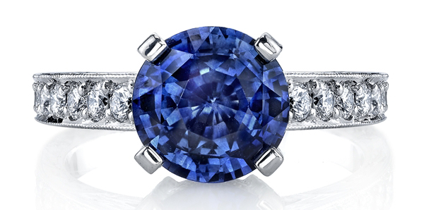 Omi Prive round sapphire and diamond ring