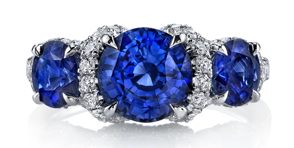 Omi Prive blue sapphire three-stone ring