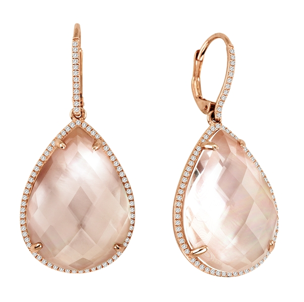 Asher Jewelry pink mother of pearl drop earrings