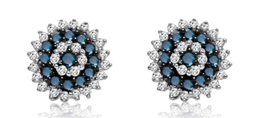 Hetal Diamonds blue and white stud earrings
