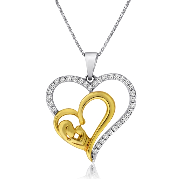 Hetal Diamonds Mother and Baby heart necklace