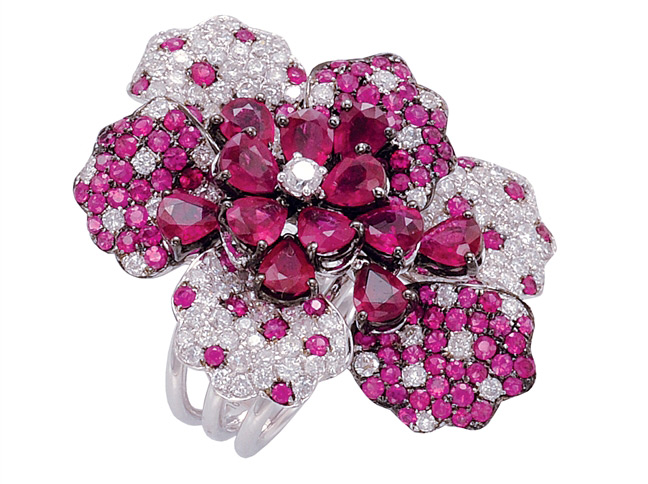 GemTrends pink sapphire and ruby flower ring