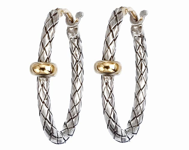 Alisa two-tone basketweave hoop earrings