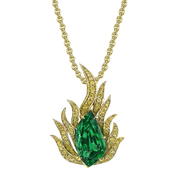 Omi Prive tsavorite and yellow diamond flame pendant