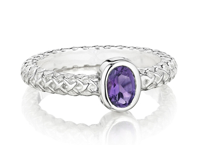Thistle & Bee amethyst Burlap stacking ring