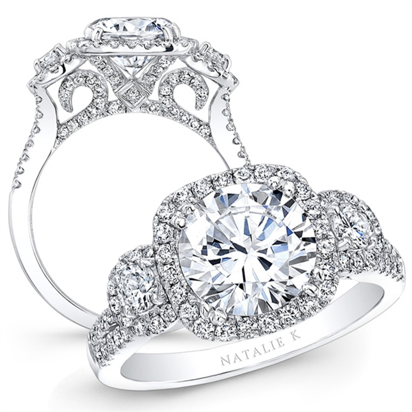 Natalie K daimond studded scrollwork three stone diamond engagement ring