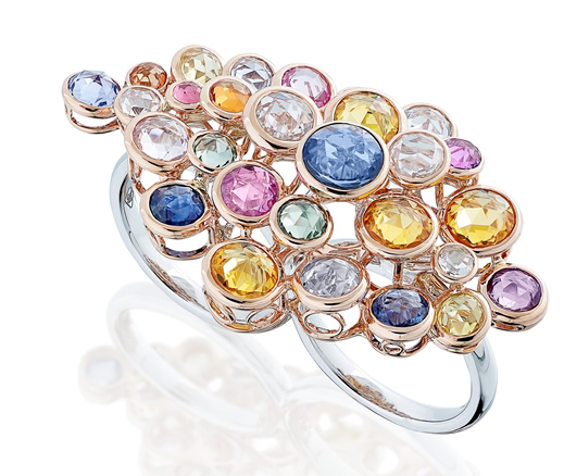 Miiori NY Blooming Secrets two-finger multicolor sapphire ring