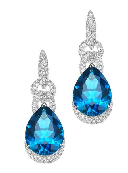 Lorenzo pave link blue topaz drop earrings