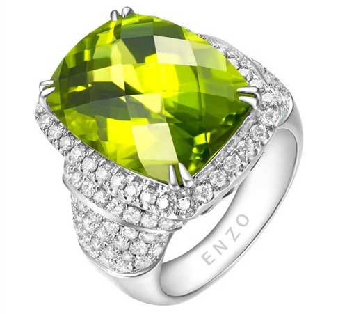 ENZO peridot and diamond cocktail ring