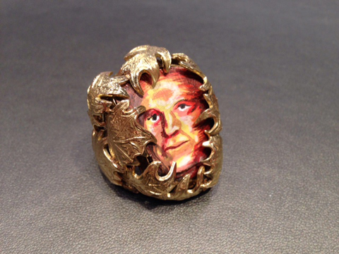 Miniature acrylic portrait on shell in 18k gold mounting by Sofie Cawood