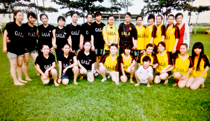 Galatea women's soccer team at the Galatea factory in Vietnam
