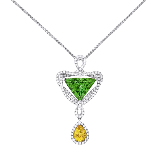 Spark green paraiba trillion and yellow sapphire pendant