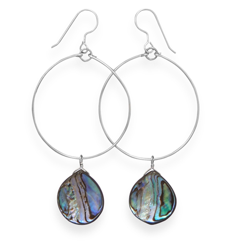 Silver Stars Collection abalone shell drop earrings