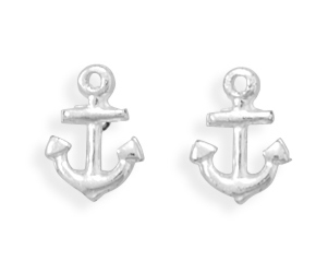 Silver Stars Collection anchor stud earrings